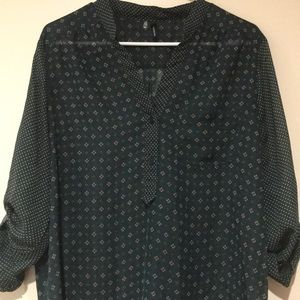 Maurices Dark Green Button Blouse